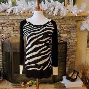 Ivanka Trump Zip Detail  Zebra Print Sweater